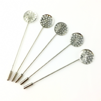 10 Silver Plated 74x16mm Beading Brooch Pins